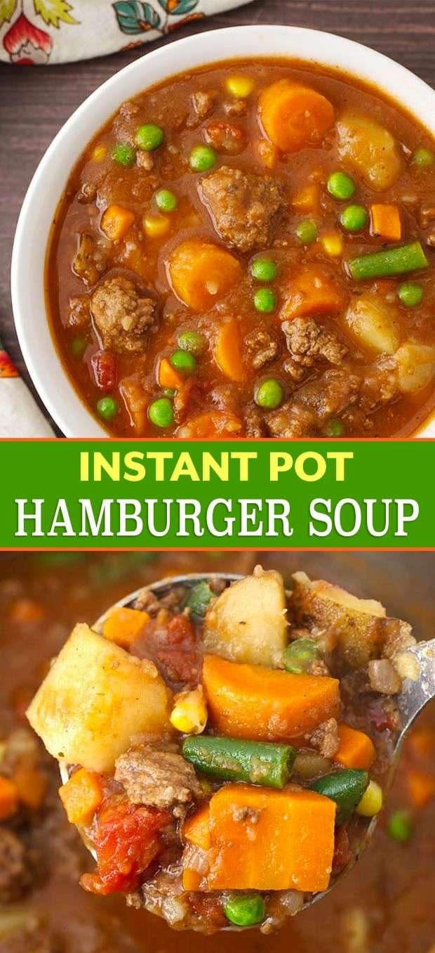 Instant Pot Hamburger Soup is a comforting classic ground beef stew made with simple, tasty ingredients. This pressure cooker hamburger soup is a family favorite! Instant Pot Recipes by simplyhappyfoodie.com #instantpothamburgersoup #pressurecookerhamburgersoup