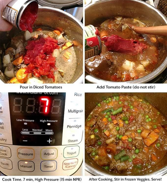 Four process images showing the addition of tomatoes and tomato paste before setting the pressure cooker cook time and adding in the frozen veggies afterwards