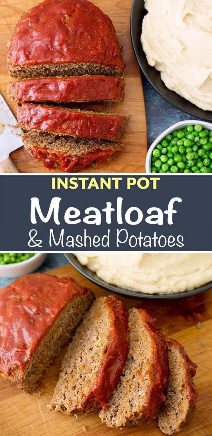 Instant Pot Meatloaf and Mashed Potatoes are cooked together in one pot. A delicious and easy to make pressure cooker meatloaf and mashed potatoes dinner. simplyhappyfoodie.com #instantpotrecipes #instantpotmeatloaf #instantpotmashedpotatoes #instantpotmeatloafmashedpotatoes #pressurecookermeatloaf