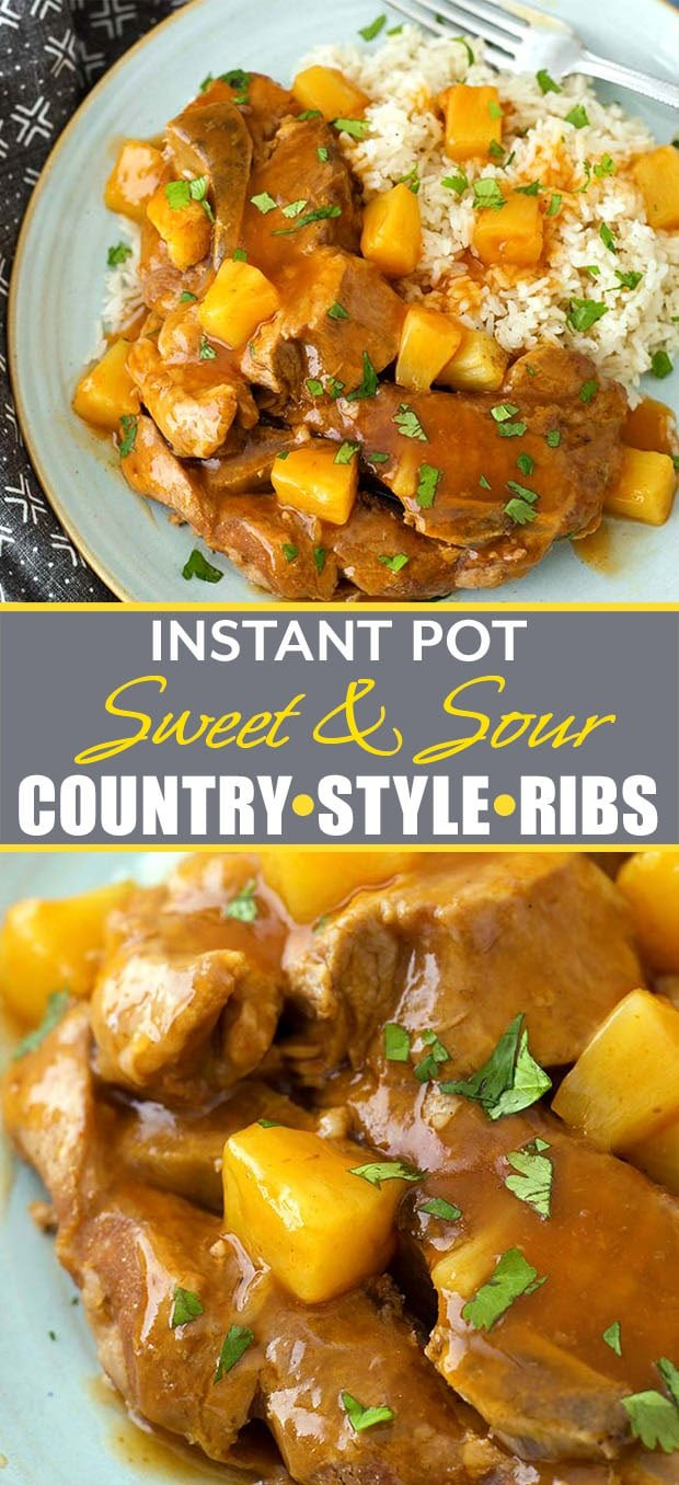 Instant Pot Sweet and Sour Country Ribs have a delicious tangy-sweet sauce, and the meat is fork tender. These pressure cooker country style ribs are easy to make and they are so good! simplyhappyfoodie.com #instantpotrecipes #instantpotribs #instantpotcountrystyleribs #instantpotsweetandsourribs #pressurecookerribs #pressurecookerporkribs