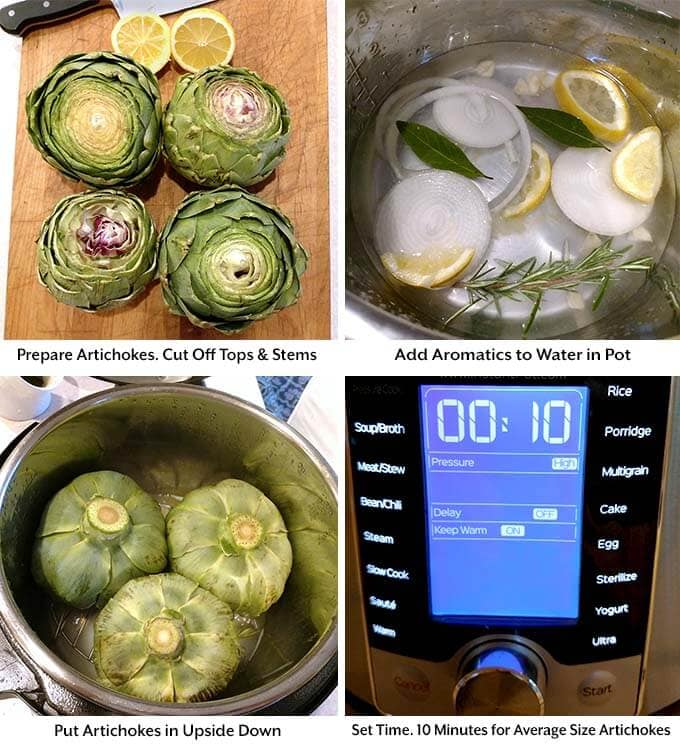 Four process images showing artichokes with tops and stems removed on a wooden cutting board, adding aromatics to water in pressure cooker pot, then adding artichokes upside down to pot before setting pressure cooker cooking time