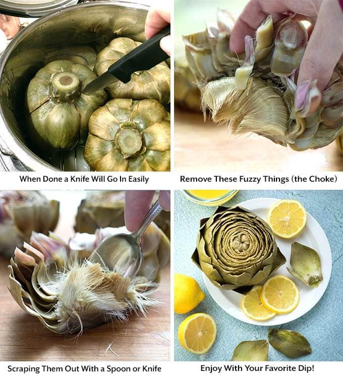 Four process images showing cutting the artichokes and removing the choke before showing the final product o a white plate