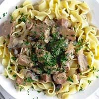 Instant Pot Beef Stroganoff on a white plate