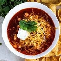 Instant Pot Chili in a white bowl