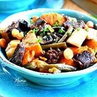 Easy Beef Stew in a blue bowl