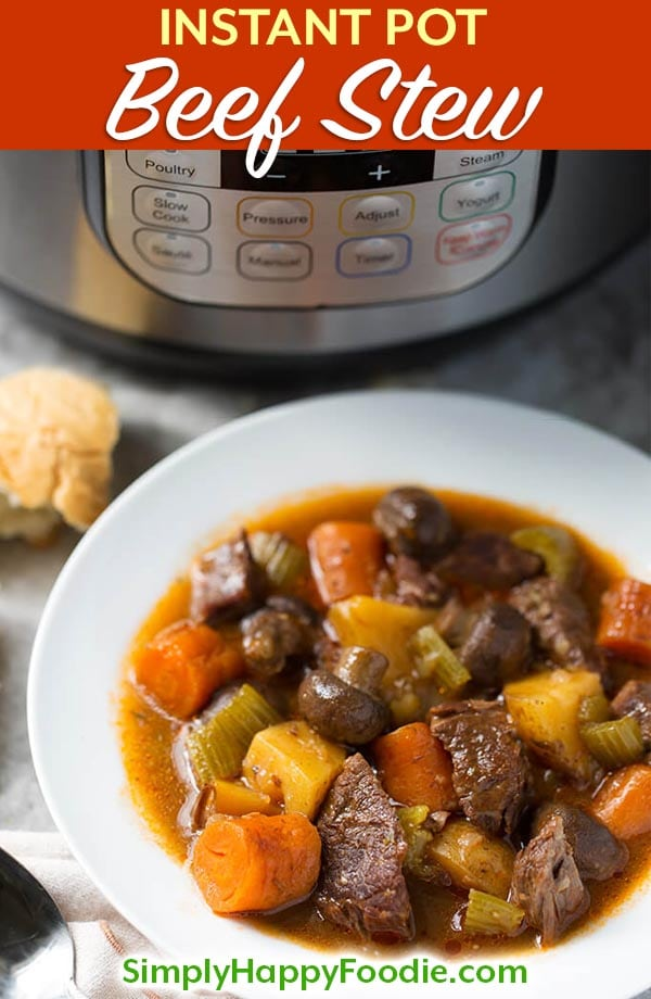 Sandy's Instant Pot Beef Stew is rich, delicious, and easy to make! This pressure cooker beef stew recipe requires no browning! How to make Instant Pot Beef Stew. simplyhappyfoodie.com #instantpotbeefstew #instantpotrecipes #pressurecookerbeefstew
