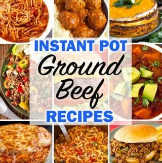 A collection of delicious and easy to make Instant Pot Ground Beef Recipes. These pressure cooker ground beef recipes will help you decide what to do with that pound of hamburger! simplyhappyfoodie.com #instantpotrecipes #instantpotgroundbeefrecipes #instantpotgroundbeef #instantpothamburger #pressurecookergroundbeef