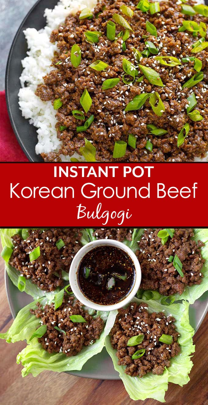 Instant Pot Korean Ground Beef - Bulgogi has incredible flavor! Use this amazing meat for Korean beef tacos, Korean beef rice bowl, or Korean beef lettuce wraps. This pressure cooker Korean ground beef is delicious, and so fast and easy. Make your rice at the same time! simplyhappyfoodie.com #instantpotkoreanbeef #instantpotkoreangroundbeef #instantpotgroundbeef