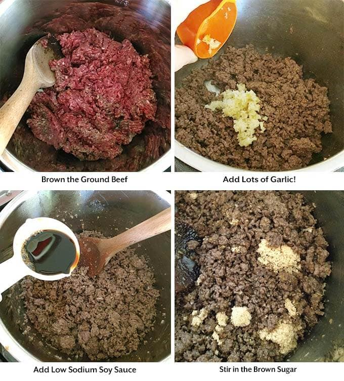 Four process images showing the browning of beef and adding in the other ingredients into a pressure cooker pot