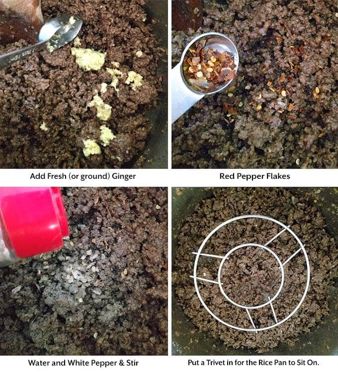 Four process images showing the addition of seasonings and placing a trivet into a pressure cooker pot