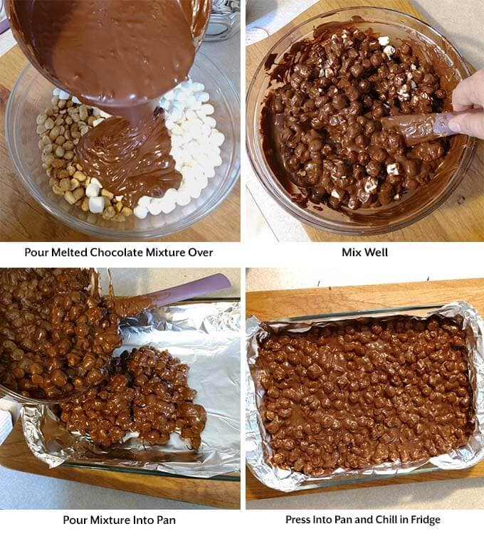 Four process images showing the mixing of all ingredients and placing on the pan