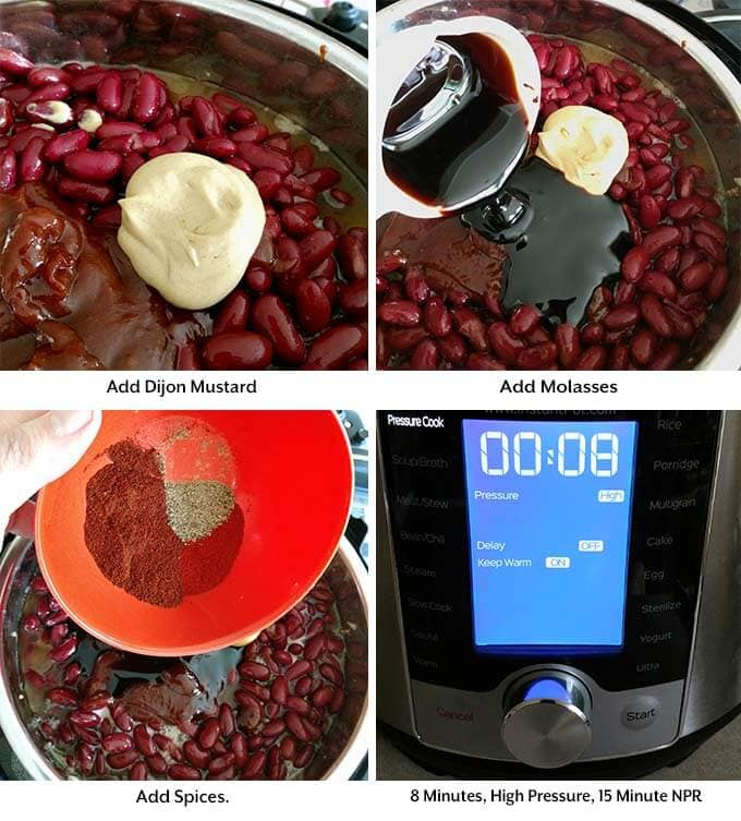 Four process images showing the addition of mustard, molasses, and spices before setting the pressure cooker cook time