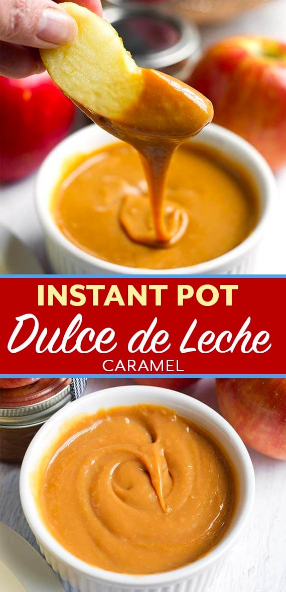 Instant Pot Dulce de Leche Caramel is a delicious caramel like confection that makes a tasty sweet dip for apples, a cheesecake topping, a cake filling, and it is easy to make. Pressure cooker dulce de leche caramel is one of our favorite treats! simplyhappyfoodie.com #instantpotrecipes #instantpotdulcedeleche #instantpotdesserts #instantptcaramel #pressurecookerdulcedeleche