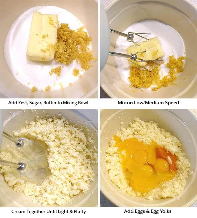 Four process images showing the addition of zest, sugar, and butter int a mxing bowl before being mixed and the addition of eggs