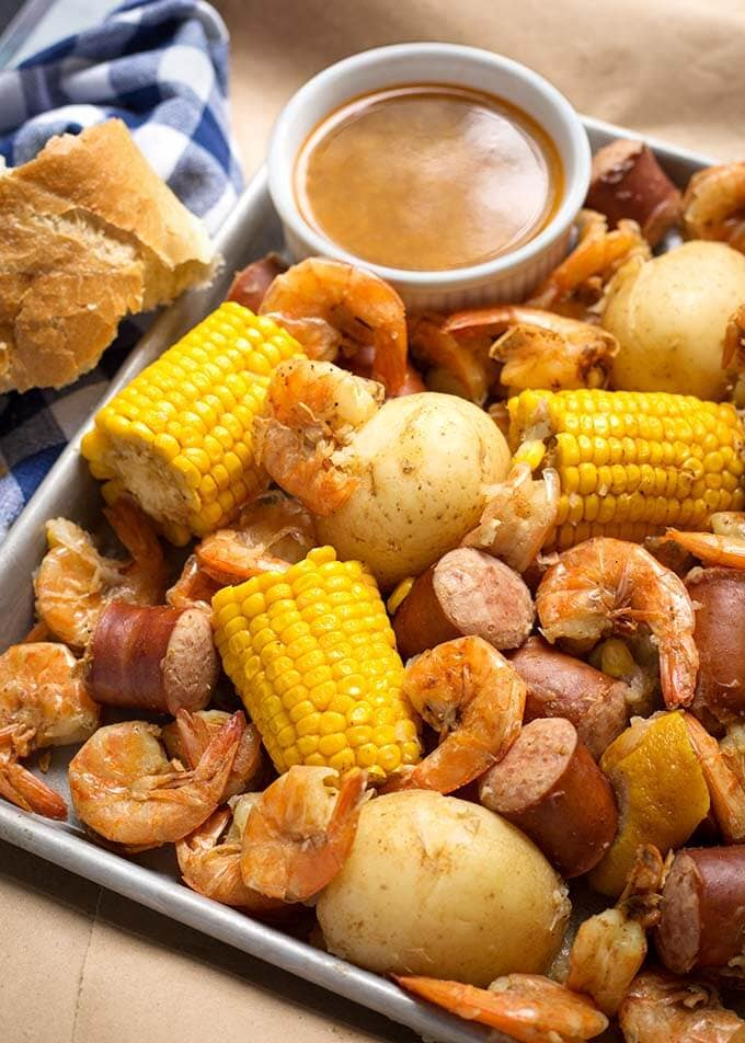 Instant Pot Low Country Shrimp Boil on a pan