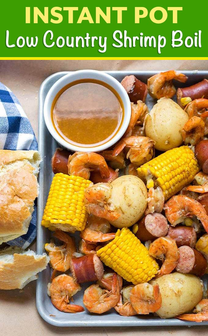 Instant Pot Low Country Shrimp Boil is a fun and super easy meal to make! Potatoes, sausage, corn and shrimp cooked together with seafood seasoning and Cajun spices. Pressure cooker low country shrimp boil is ready in a little over an hour total! Dump it on the table and dig in! simplyhappyfoodie.com #instantpotlowcountryshrimpboil #instantpotshrimpboil #pressurecookerlowcountryboil #pressurecookershrimpboil