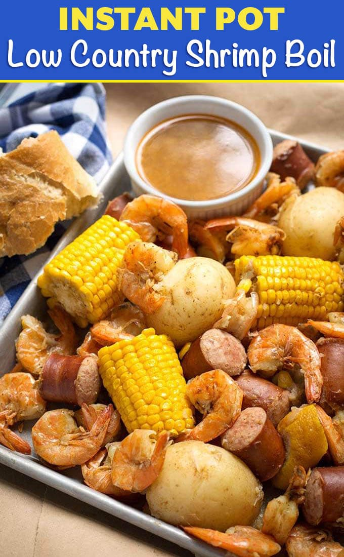 Instant Pot Low Country Shrimp Boil is a fun and super easy meal to make! Potatoes, sausage, corn and shrimp cooked together with seafood seasoning and Cajun spices. Pressure cooker low country shrimp boil is ready in a little over an hour total! Dump it on the table and dig in! simplyhappyfoodie.com #instantpotrecipes #instantpotlowcountryshrimpboil #instantpotshrimpboil #pressurecookerlowcountryboil #pressurecookershrimpboil #shrimpboil