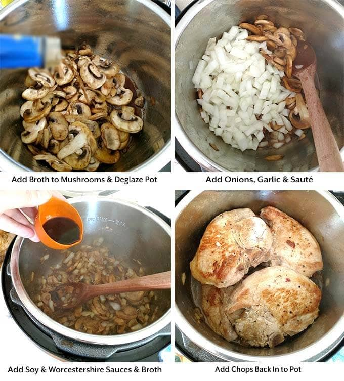 instant pot pork chops mushroom gravy process 2