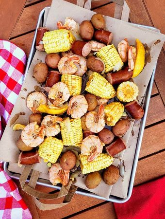 Shrimp Boil on a baking sheet
