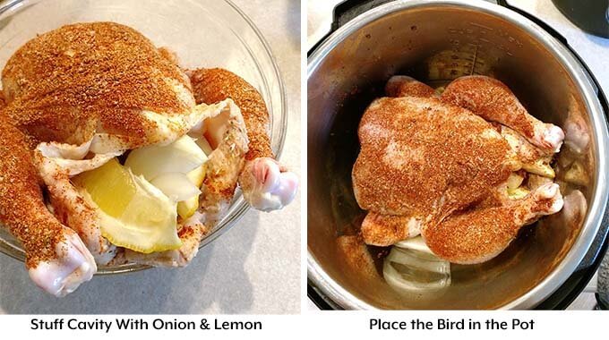 instant pot whole chicken stuffed with lemon and onion