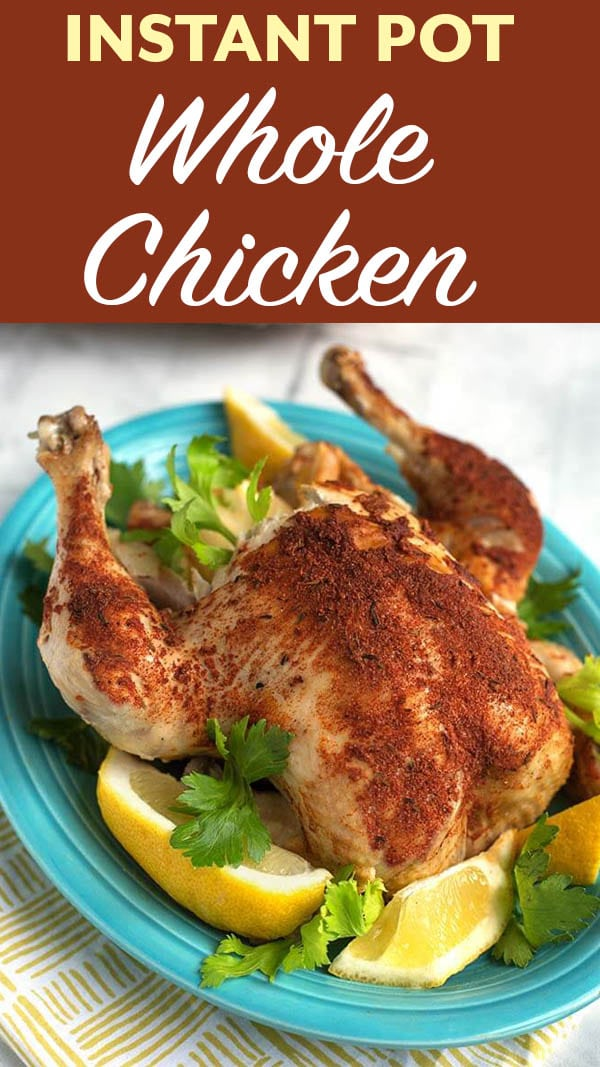 Cook a whole chicken in your Instant Pot. This Instant Pot Whole Chicken recipe is so easy, and the chicken turns out juicy and tender. Add my Rotisserie Chicken Spice Rub and then make this pressure cooker whole chicken in under an hour! simplyhappyfoodie.com #instantpotwholechicken #instantpotrotisseriechicken #pressurecookerwholechicken #instantpotchicken