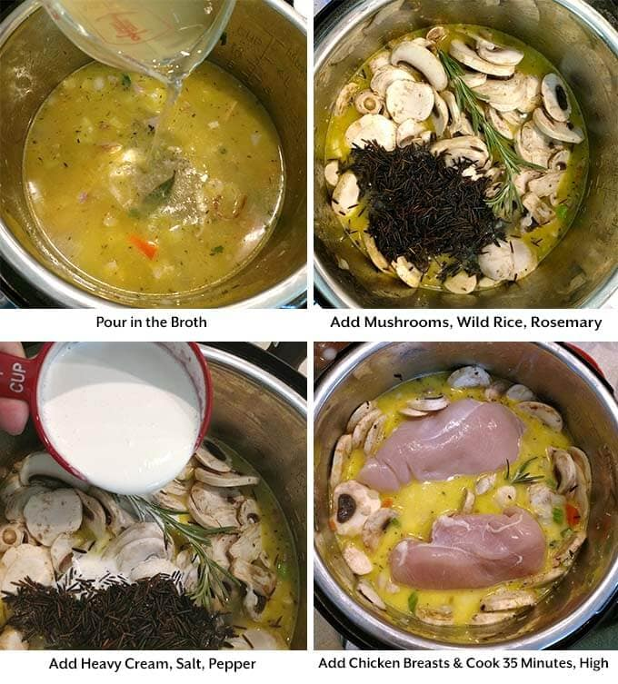 instant pot wild rice soup process 2