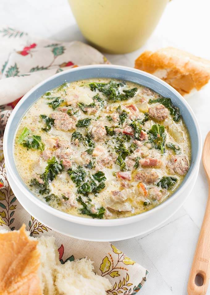 Zuppa Toscana Sausage Potato Soup in a light blue bowl