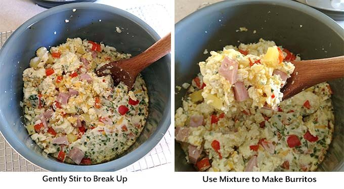 two process images showing a wooden mixing spoon breaking up the mixture and spooning it out of the pot