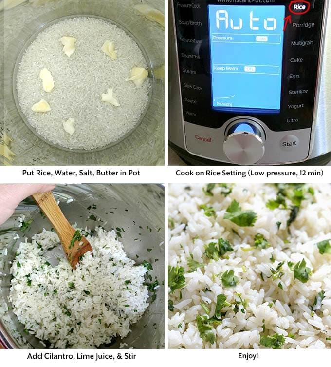four process images showing the rice, water, salt, butter in the pressure cooker pot, cooking on the rice setting of the pressure cooker, mixing with a wooden spoon, and then the final result