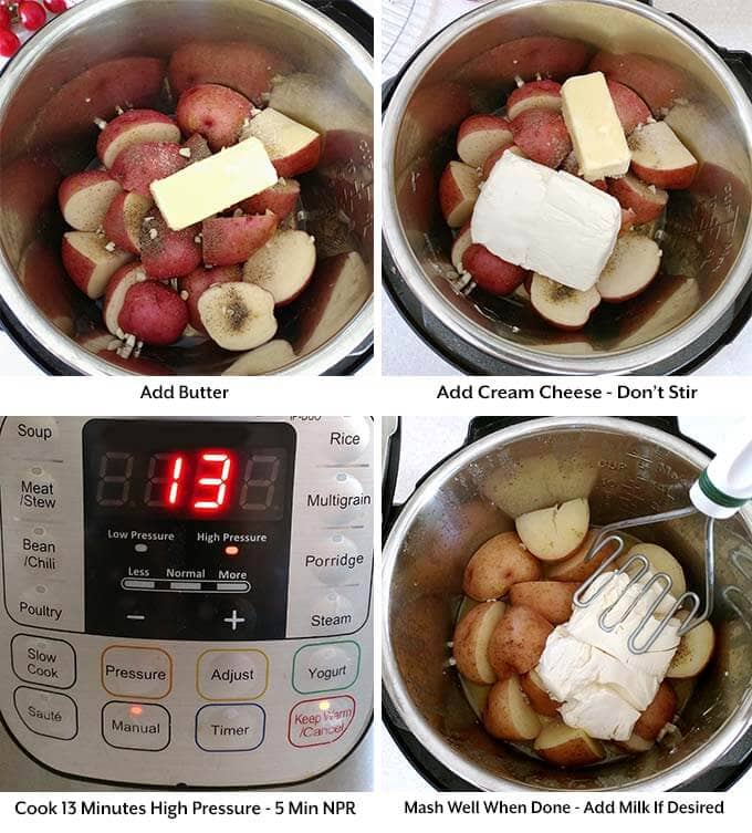 four images showing the addition of butter and cream cheese before setting the cook time and then mashing ingredients together when cooked