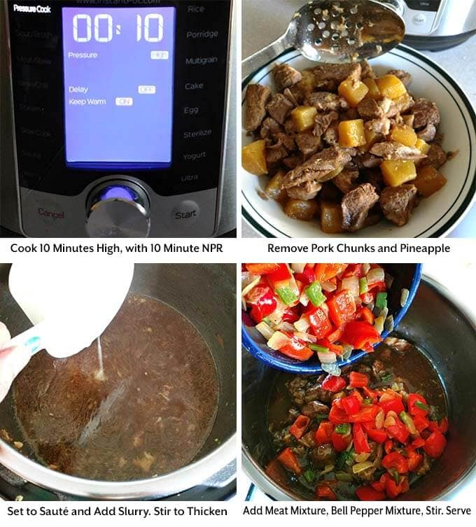 Four process images showing the pressure cooker time being set, removing pork and pineapple, before adding slurry to sauce and combining everything into the pressure cooker pot