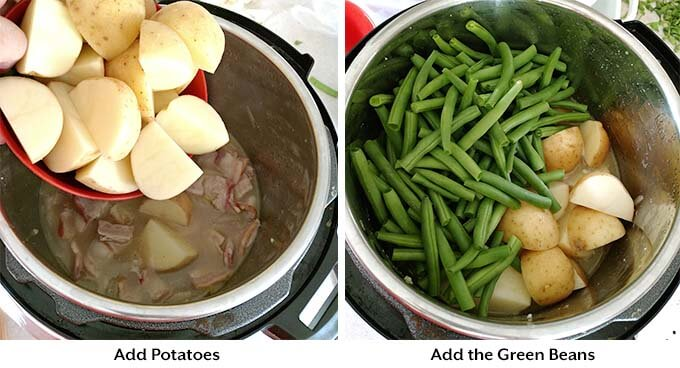 Instant Pot Green Beans with New Potatoes and Bacon are true comfort food! This fast cooking pressure cooker Southern green beans recipe is fast cooking, and has a lot of flavor. Instant Pot Recipes by simplyhappyfoodie.com #instantpotgreenbeans #pressurecookergreenbeans