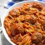 Spaghetti and Meatballs on a white plate