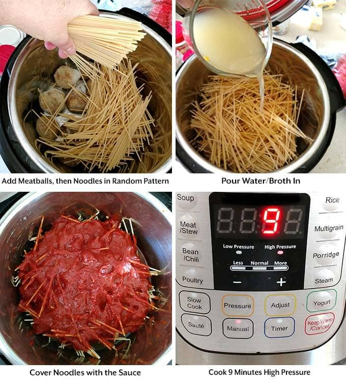 instant pot spaghetti and meatballs process simplyhappyfoodie.com