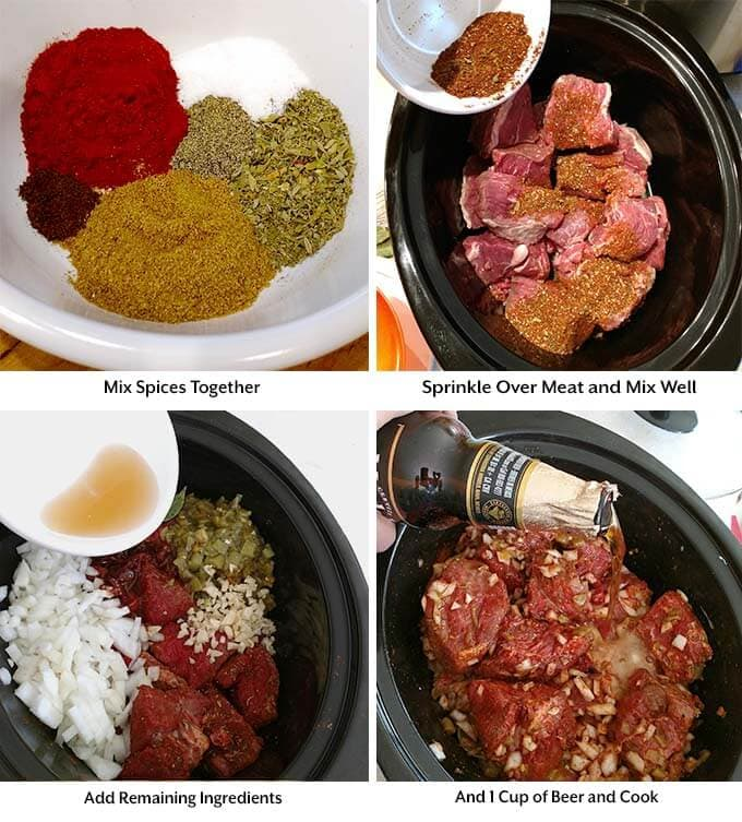 four process images showing the mixes in a white bowl, meat and spice mix in a black slow cooker with the remaining ingredients added