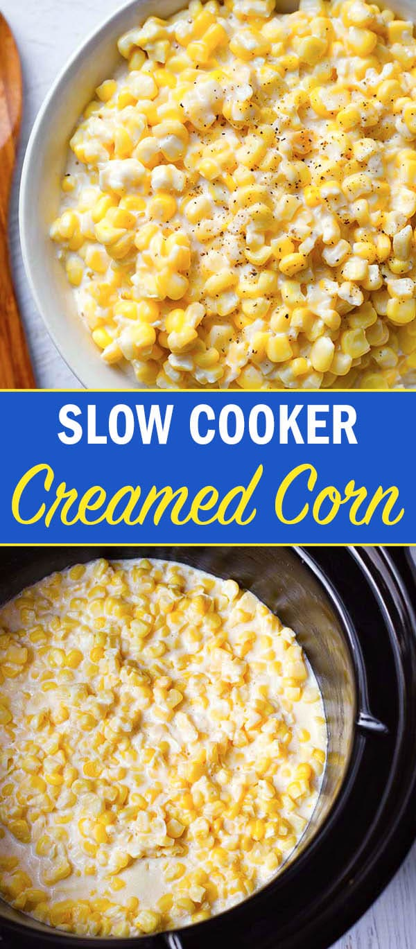 Slow Cooker Creamed Corn is one of my favorite vegetable side dishes. The creaminess and sweet corn flavor make this crock pot creamed corn much better than the canned stuff, with only 5 ingredients. simplyhappyfoodie.com #slowcookercreamedcorn #crockpotcreamedcorn #creamedcorn creamed corn recipe
