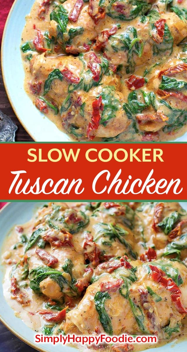 Slow Cooker Creamy Tuscan Chicken recipe is an easy meal to make, and it tastes like you went to a restaurant! With this crock pot tuscan chicken recipe you can have a delicious meal on the table that the whole family will love! simplyhappyfoodie.com #slowcookercreamytuscanchicken #slowcookerchickenbreasts #crockpottuscanchicken #crockpotchicken slow cooker Tuscan chicken recipe, crock pot chicken recipe