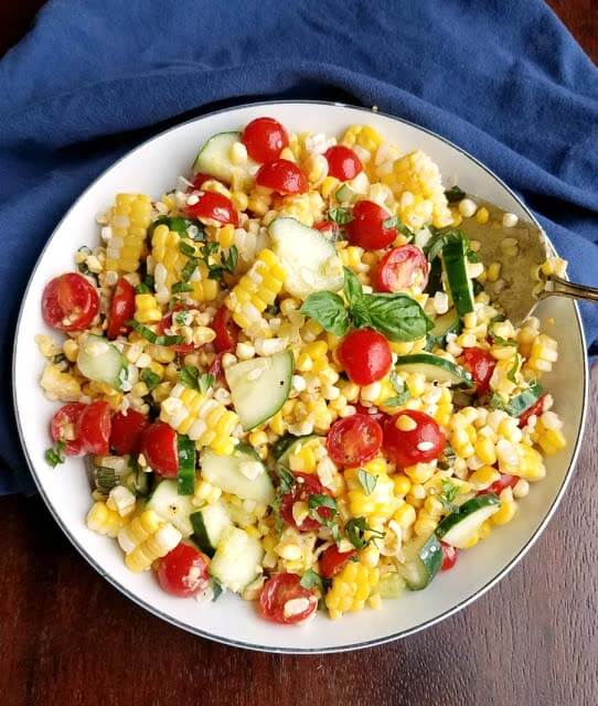 Summer Corn Salad in a white bowl