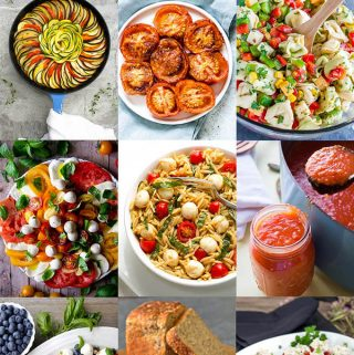 A collection of 31 best fresh tomato recipes. Tomato soup, tomato appetizers, fresh tomato entrees, fresh tomato sauce, fresh tomato salad recipes, fresh tomato side dish recipes simplyhappyfoodie.com #freshtomatorecipes #tomatorecipes #freshtomatoes #whattomakewithfreshtomatoes #ripetomatoes #besttomatorecipes