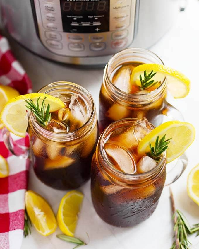 glasses of iced tea from above on a table in front of an instant pot