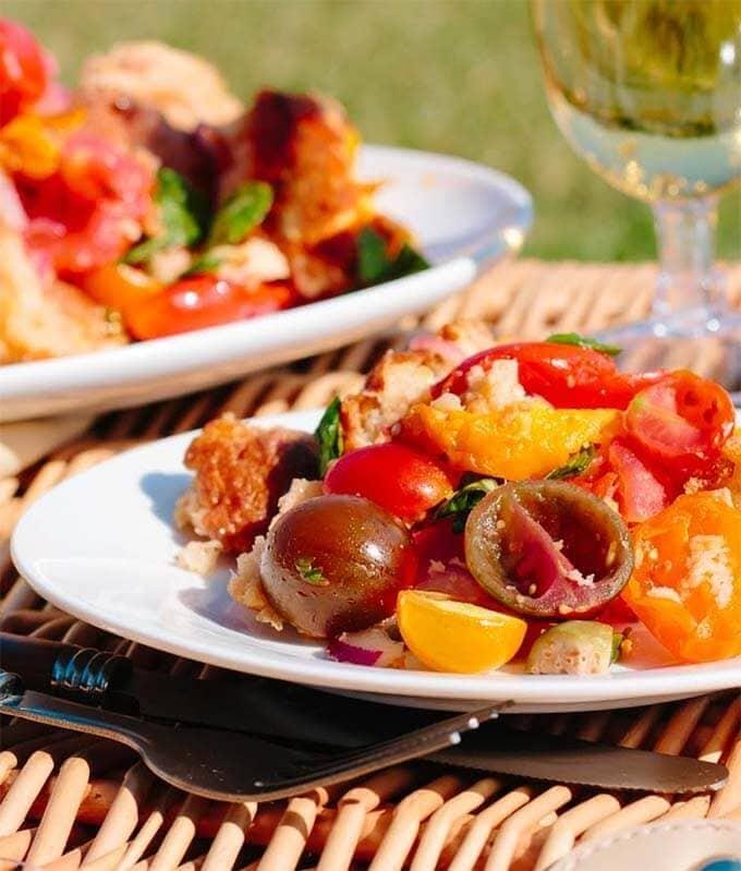 panzenella salad on a picnic table
