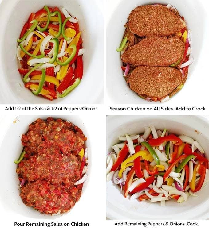 Slow Cooker Chicken Fajitas is easy to make and my whole family loves! With tender chicken strips, bell peppers and onion, and my homemade Fajita Seasoning. These crock pot chicken fajitas will make your house smell so good while they are cooking. simplyhappyfoodie.com #slowcookerchickenfajitas #slowcookerfajitas #crockpotchickenfajitas