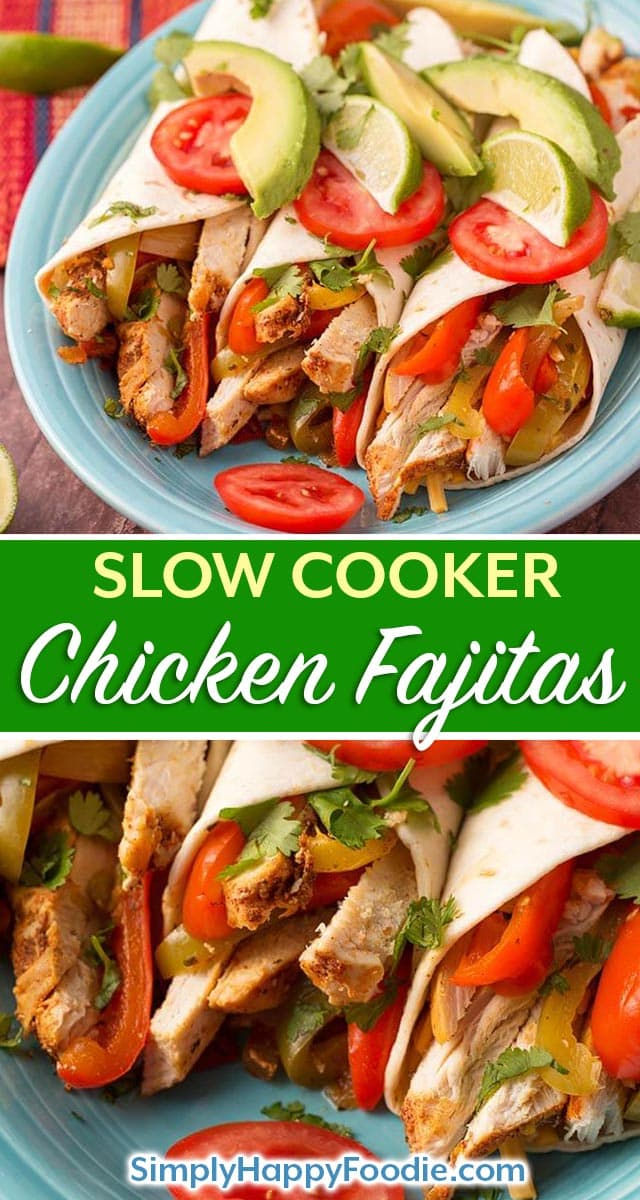Slow Cooker Chicken Fajitas is a recipe that is easy to make! With tender chicken strips, bell peppers, onion, and my homemade Fajita Seasoning. These crock pot chicken fajitas will make your house smell so good while cooking. simplyhappyfoodie.com #slowcookerchickenfajitas #slowcookerfajitas #crockpotchickenfajitas