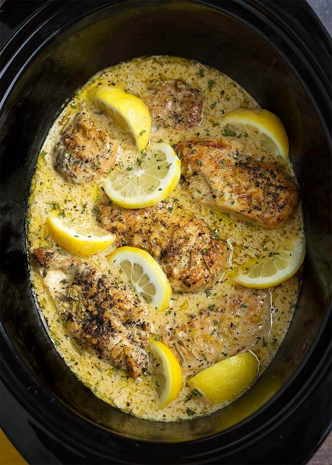Creamy Lemon Chicken Breasts in a slow cooker