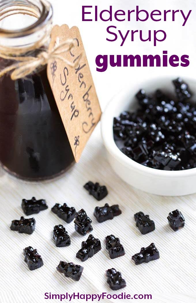 These fun Elderberry Syrup Gummies are a tasty and sweet way to get a dose of Elderberry Syrup. Elderberries are believed to be a great antioxidant, immunity booster, and a natural remedy for warding off colds and the flu! Elderberry Syrup Gummies have a nice flavor. Kids like gummies! simplyhappyfoodie.com #elderberrysyrupgummies #elderberrysyrupgummybears
