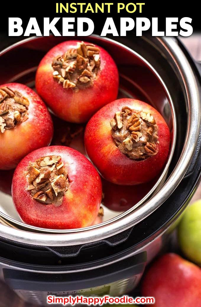 Instant Pot Baked Apples are a delicious sweet treat! These pressure cooker baked apples are flavored with a tasty cinnamon butter, brown sugar, and chopped pecans. They only take minutes to cook. We love how easy it is to make baked apples in the Instant Pot! simplyhappyfoodie.com #instantpotbakedapples #pressurecookerbakedapples #bakedapples