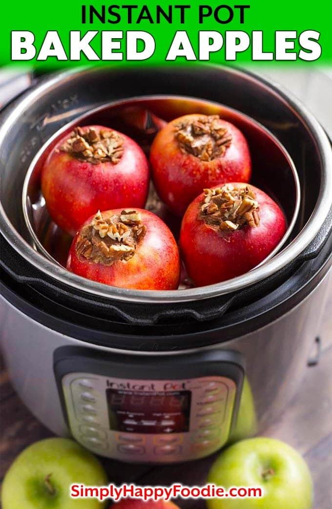 Instant Pot Baked Apples are a delicious sweet treat for Fall! These pressure cooker baked apples are flavored with a tasty cinnamon butter, brown sugar. They only take minutes to cook. We really like how easy it is to make baked apples in the Instant Pot! simplyhappyfoodie.com #instantpotbakedapples #pressurecookerbakedapples #bakedapples