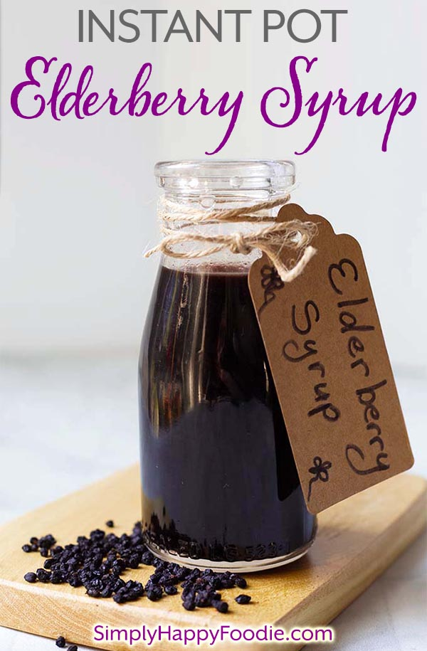 Instant Pot Elderberry Syrup is a wonderful, earthy and sweet syrup. It is believed to be a great antioxidant, immunity booster, and a natural remedy for warding off colds and the flu! This Pressure cooker Elderberry Syrup recipe has ingredients to enhance the flavor, and they also have potential health benefits. It tastes great! simplyhappyfoodie.com #instantpotelderberrysyrup #pressurecookerelderberrysyrup #homemadeelderberrysyrup