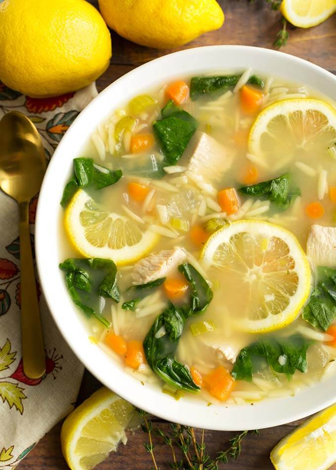Instant Pot Lemon Chicken Orzo Soup is a light and delicious soup that you can make in minutes. This pressure cooker lemon chicken orzo soup is a healthy and simple Instant Pot chicken soup. simplyhappyfoodie.com #instantpotchickensoup #instantpotsoup #pressurecookerchickensoup