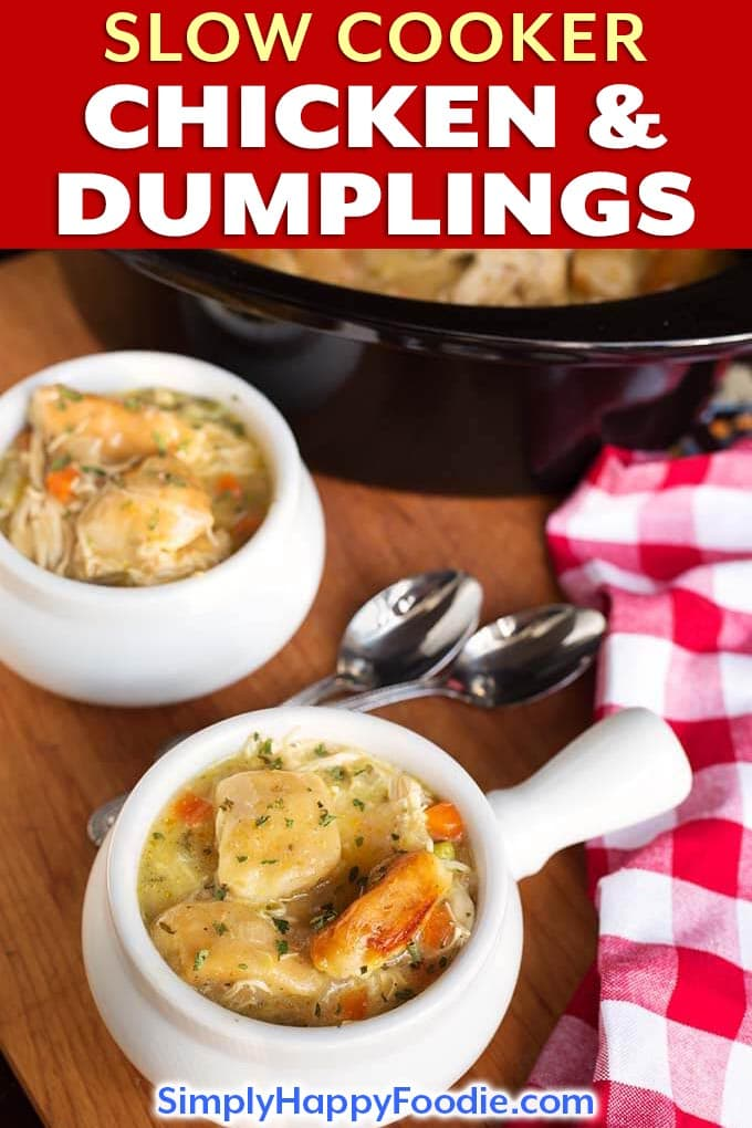 Slow Cooker Chicken and Dumplings are a yummy comfort food that the whole family will enjoy. This crock pot chicken and dumplings recipe gives you two options for the dumplings! Use prepared biscuits, or make them from scratch using my easy dumplings recipe. simplyhappyfoodie.com #slowcookerchickendumplings #crockpotchickendumplings